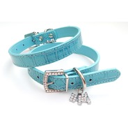 Blue Mock Croc Collar