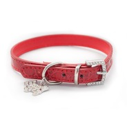 Red Mock Croc Collar