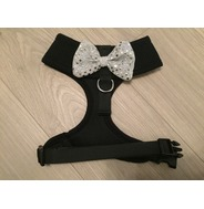 Black Harness with Silver Handmade Sequin Bow