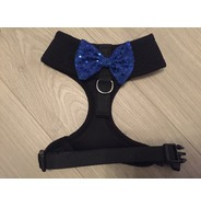 Black Harness With Blue Handmade Sequin Bow