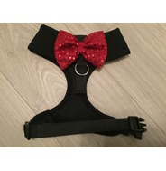 Black Harness With Red Handmade Sequin Bow