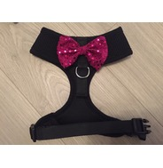 Black Harness With Pink Handmade Sequin Bow