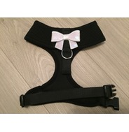 Black Harness With Small White Sequin Bow
