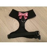 Black Harness With Small Pink Sequin Bow