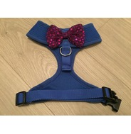 Blue Harness With Purple Handmade Sequin Bow
