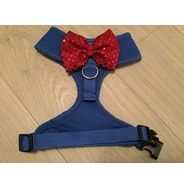 Blue Harness With Red Handmade Sequin Bow