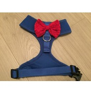 Blue Harness With Red Handmade Lace Bow