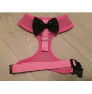 Pink Harness with Black Handmade Sequin Bow