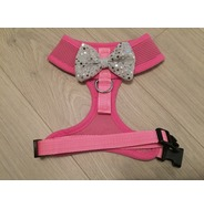 Pink Harness With Silver Handmade Sequin Bow