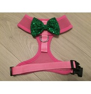 Pink Harness With Green Handmade Sequin Bow