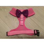 Pink Harness With Purple Handmade Sequin Bow