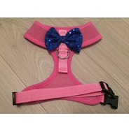 Pink Harness With Blue Handmade Sequin Bow