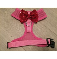 Pink Harness With Red Handmade Sequin Bow