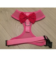Pink Harness With Red Handmade Lace Bow