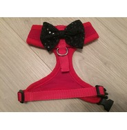 Red Harness With Black Handmade Sequin Bow