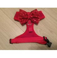 Red Harness With Red Handmade Sequin Bow