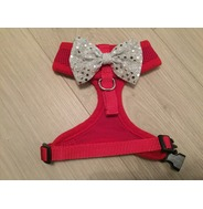 Red Harness With Silver Handmade Sequin Bow