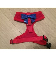Red Harness With Small Blue Sequin Bow