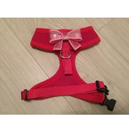 Red Harness With Small Pink Sequin Bow