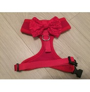 Red Harness With Red Handmade Lace Bow