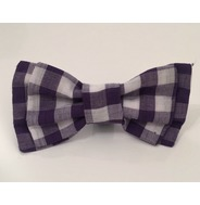 Purple check bow tie