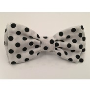 White and black polka dot bow tie