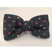 Navy multi square bow tie