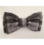 Grey plaid bow tie
