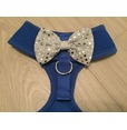 Blue Harness With Silver Handmade Sequin Bow