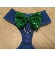 Blue Harness with Green Handmade Sequin Bow