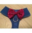 Blue Harness With Pink Handmade Sequin Bow