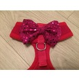 Red Harness With Pink Handmade Sequin Bow