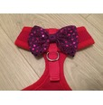 Red Harness With Purple Handmade Sequin Bow