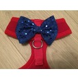 Red Harness With Blue Handmade Sequin Bow