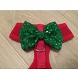 Red Harness With Green Handmade Sequin Bow
